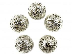 Kule ażurowe metalowe 8mm kolor srebro ciemne 10sztuk