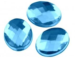 KABOSZON SZLIFOWANY OWALNY 10x8x3 mm 10 sztuk akryl niebieski