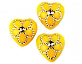 Kaboszony serca 12x11x4 mm 10 sztuk  żółte  akryl