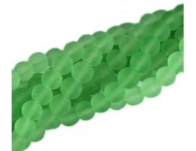 KORALIKI MROŻONE SZNUR 8mm SZKLANE 52szt zielony jasny