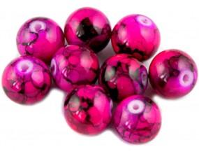 Koraliki szklane powlekane 10mm Marmurki 8szt różowy ciemny