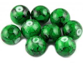 Koraliki szklane powlekane 10mm Marmurki 8szt zielony