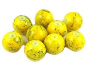 Koraliki szklane powlekane 10mm Marmurki 8szt żółty