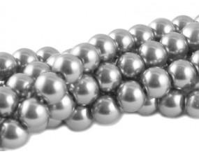 PERŁY SZKLANE PERŁA SZNUR 10mm 42 szt srebrne