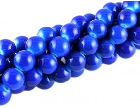 KORALIKI SZKLANE POWLEKANE sznur 10mm 43sztuk niebieski ciemny