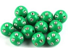 Koraliki zdobione akrylowe 8mm zielony 10szt