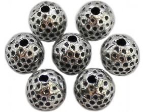 PRZEKŁADKA kula kropkowana 8mm k. srebrny antyczny 6 sztuk