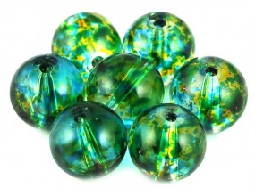 KORALIKI SZKLANE plamiste 10mm 8szt zielony