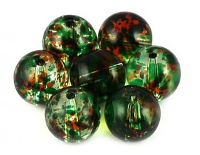 KORALIKI SZKLANE plamiste 10mm 8szt zielony ciemny