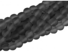KORALIKI MROŻONE SZNUR 8mm SZKLANE 52szt grafitowe