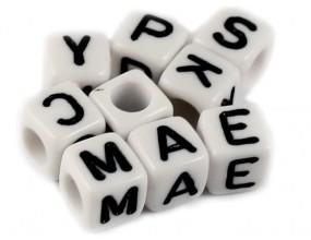 LITERY - koraliki MODUŁOWE literki ALFABET 20szt MIX