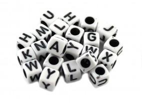 LITERY - koraliki MODUŁOWE literki 6mm 20szt MIX
