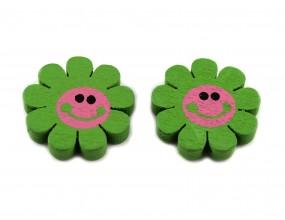 Kolorowe kwiatki KWIATY drewniane 23mm 2szt zielony