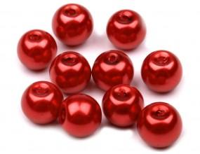 Perły szklane koraliki 10mm 10szt czerwone