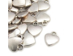 ZAWIESZKA SERCE, SERDUSZKO CHARMS 10x12mm kolor srebrny 4 sztuki metal