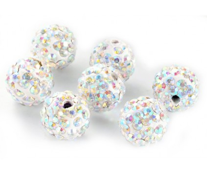 Koraliki SHAMBALLA kula 10mm k. crystal AB