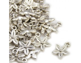 Zawieszka metalowa kwiat 13.5x10.5mm srebrny 4szt