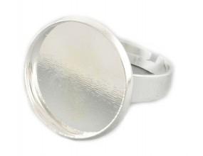Baza pierścionka na kaboszon 18mm srebrny 1szt
