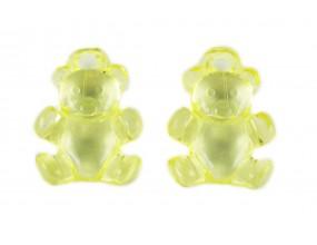 KORALIKI ZAWIESZKI MIŚ akrylowe 21x15mm 4szt żół.