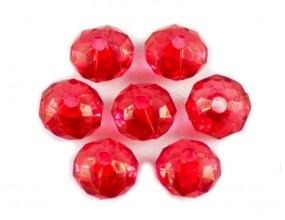 KORALIKI SZLIFOWANE akrylowe 8mm czerwone 30szt