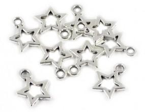 ZAWIESZKI CHARMS GWIAZDKI 10x12mm k. srebrny 4szt metal