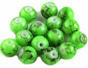 Koraliki szklane powlekane 8mm Marmurki 14szt zielony jasny