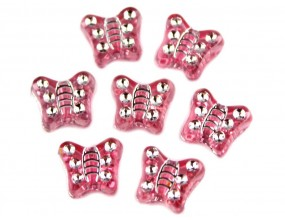 Koraliki motylki akrylowe 9mm różowe 20 sztuk