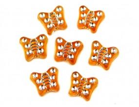 Koraliki motylki akrylowe 9mm pomarańcz 20 sztuk