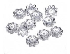 Nakładki przekładki kwiatek 10x2mm k srebrny 50szt