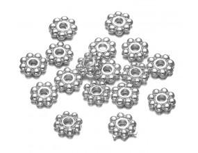 Nakładki przekładki 5mm kwiatki 10sztuk k. srebrny
