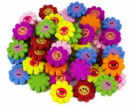 MIX kolorowe kwiatki KWIATY drewniane 23mm 10szt