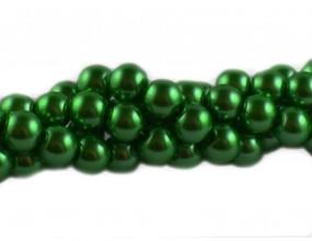 PERŁY SZKLANE PERŁA SZNUR 10mm 42szt zielony ciemny