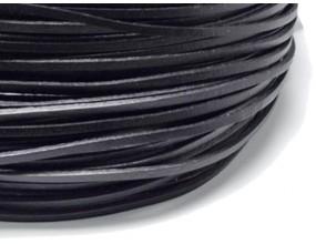 RZEMIEŃ Naturalny Skórzany Okrągły Czarny 3mm 1m