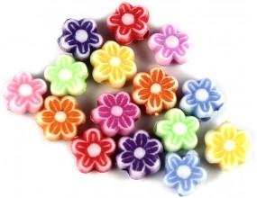 Koraliki kwiatki akrylowe 7mm mix kolorów 30 sztuk