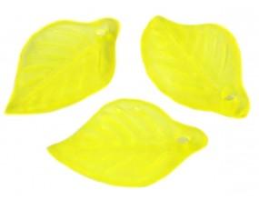KORALIKI LISTKI AKRYLOWE 18x13mm żółte 10szt.