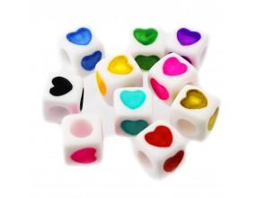 Koraliki serce MODUŁOWE serca akryl 7mm 10szt czer