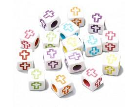 Koraliki litery literki kostki alfabet 6x6mm 20szt mix