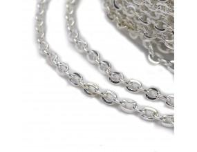 Łańcuszek do biżuterii 3x2x0.6mm 1metr k. SREBRNY