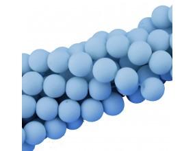 Koraliki szklane GUMOWANE 10mm sznur 40szt błękit