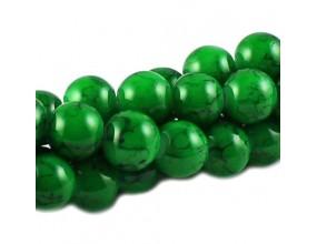 KORALIKI SZKLANE POWLEKANE MARMURKI 10mm sznur  40szt zielone