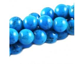 KORALIKI SZKLANE POWLEKANE MARMURKI 10mm sznur  40szt niebieski jasny