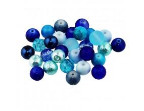 Koraliki szklane 8mm MIX 30szt niebiesko-błękitny