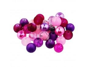 Koraliki szklane 8mm MIX 30szt fioletowo-różowy