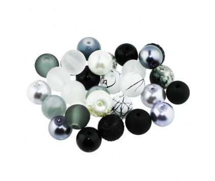 Koraliki szklane 8mm MIX 30szt czarno-szaro-biały