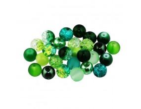 Koraliki szklane 8mm MIX 30szt seledynowo-zielony