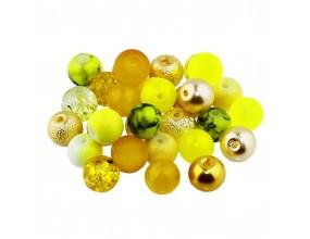 Koraliki szklane 8mm MIX 30szt żółto-złoty