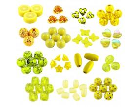 ZESTAW koraliki do robienia KOLCZYKÓW 30szt żół.