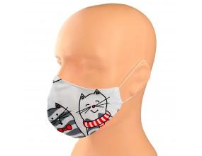 Maska Maseczka Twarz Ochronna Bawełna Dziecięca kotki