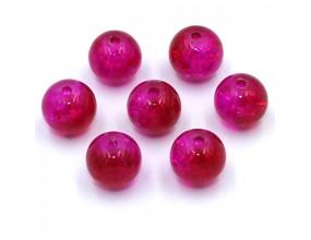 Koraliki szklane Crackle 8mm dwukolorowe 14szt. różowo-czerwone