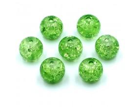 Koraliki szklane Crackle 8mm zielone jasne 14 szt.